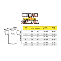 Guide des tailles t-shirt My Hero Academia