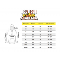 Guide des tailles sweat My Hero Academia